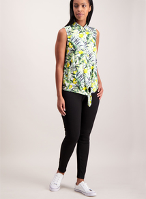 Multicoloured Banana Print Tie Front Shirt