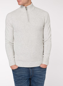 White Rib Knitted Jumper