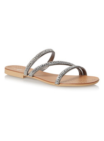 Pewter Diamante Strap Sandals