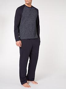 Navy Raglan & Solid Pyjama Set