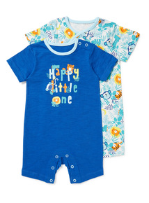 2 Pack Blue Happy Little One Rompers (Newborn - 24 months)