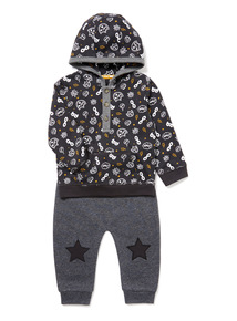 Grey Superhero Hooded T-Shirt and Joggers Set (0-24 months)