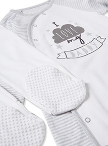 Grey and White Long Sleeve Sleepsuits (Newborn-24 months)