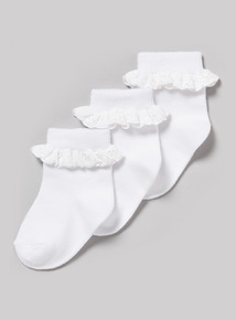 3 Pack White Frill Socks (0-24 months)