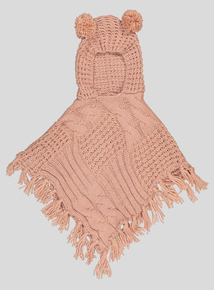 Pink Knitted Poncho With Hood (one size)