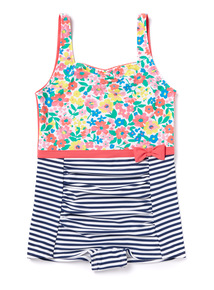 Multicoloured Stripe and Floral Swimsuit (3-12 years)