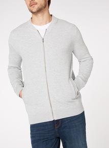 Grey Zip Through Jumper