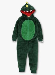 Green Dinosaur Fleece All In One (3-12 years)