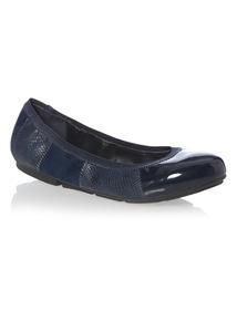 Navy Patchwork Ballerina Shoes