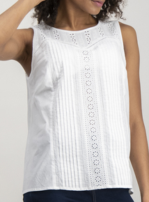White Lace Detail Shell Top