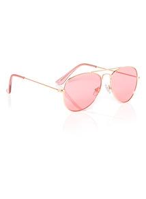 Gold Rose Tinted Aviator Sunglasses