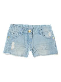 Light Wash Distressed Denim Shorts (3 - 12 years)