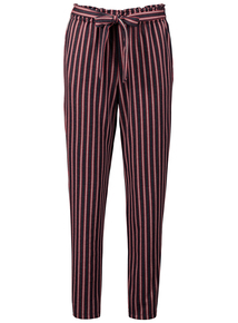 Navy Stripe High Waisted Trousers