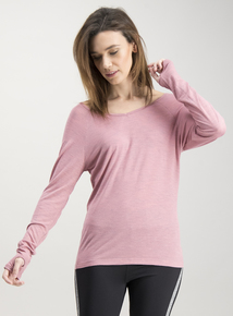 Active Pink Cross Back Long Sleeve Top