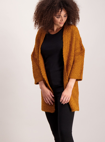 Orange Boucle Knit Coatigan