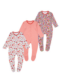 Strawberry Fields Sleepsuits 3 Pack (0 - 24 months)