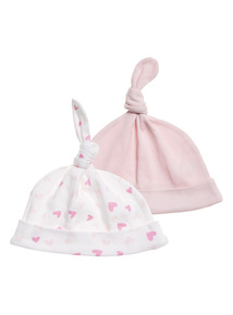 Girls Pink Hats 2 Pack (0 - 24 months)