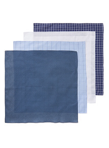 Blue 4 Pack Handkerchiefs