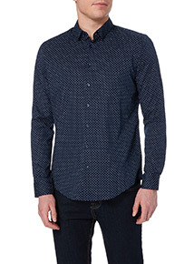 Navy Patterned Slim Stretch Shirt