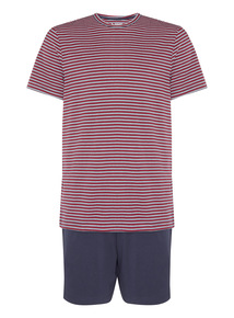 Multicoloured Striped T-shirt and Short Set
