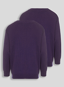 Unisex Purple V-Neck Jumpers 2 Pack (3-12 years)