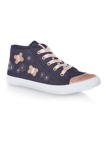 Pink Butterfly High Top Trainers