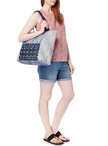 Multicoloured Embossed Shopper Bag