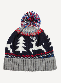 Christmas Multicoloured Pom Pom Beanie Hat