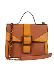 Tan Chain Detail Cross Body Bag