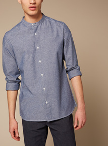 Premium Blue Slim Fit Chambray Grandad Shirt With Stretch