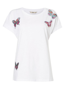 White Butterfly Graphic T-Shirt