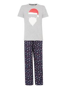 Grey Christmas Santa Pyjama Set