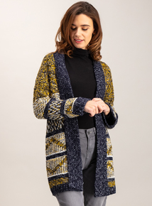 Multicoloured Shawl Collar Coatigan