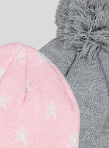 Pink & Grey Knitted Beanie Hats 2 Pack