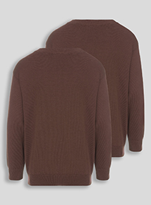 Unisex Brown V-Neck Jumpers 2 Pack (3-12 years)