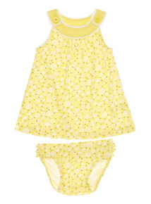Girls Yellow Floral Jersey Dress And Briefs 2 Pack (0 - 24 months)