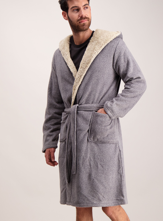 Mens Grey Borg Lined Hooded Dressing Gown | Tu clothing