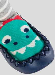 Blue & Grey Moccasin Dinosaur Slipper Socks (3 - 24 months)