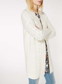 Cream Notch Neck Cable Cardigan