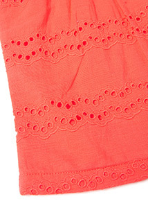 Red Broderie Detailed Frill T-Shirt (9 months-6 years)