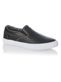 Boys Black Embossed Skater Shoes