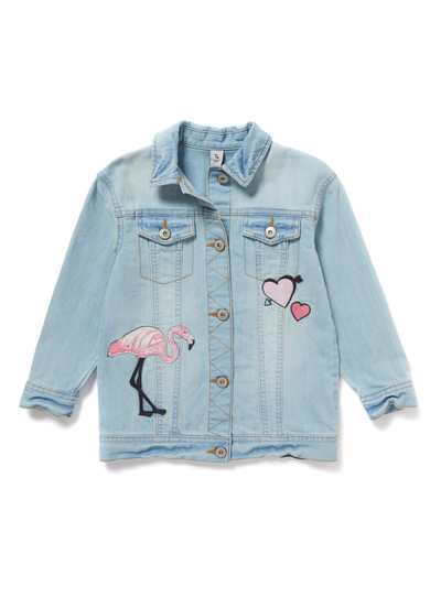 Denim Jacket With Flamingo Embroidery (3-14 years)