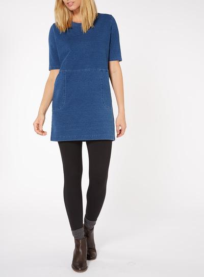 Blue Denim Longline Sweat Dress