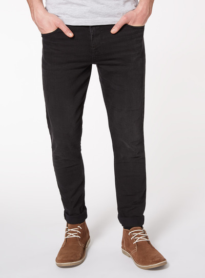 Black Denim Wash Skinny Jeans With Stretch