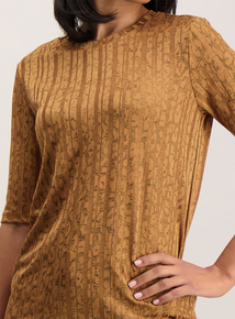 Tan Animal Print Silky T-Shirt