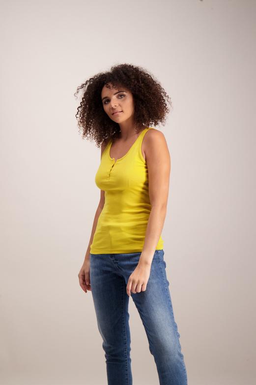 45a189d7c9722 Womens Mustard Yellow Henley Vest Top