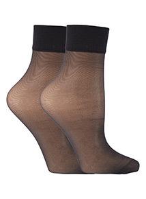 2 Pack Black 15 Denier Ankle High Socks