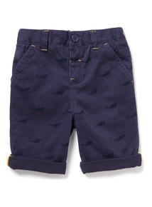 Navy Shark Print Chino Shorts (9 months-6years)