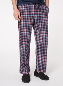 Red and Navy Check Twill Pyjama Bottoms