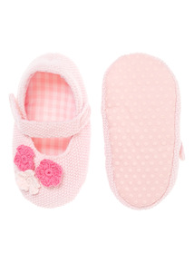Girls Floral Applique Knitted Slippers (0-18 months)